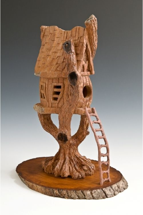 Cottonwood bark carving quot tree top birdhouse