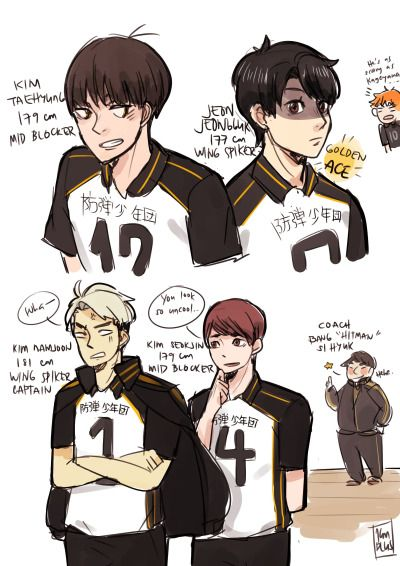 Haikyuu And Bangtan If Bts Were Made Into A Team On This Show I Could Die Happy Haikyuu Bts Fanart Bts Drawings