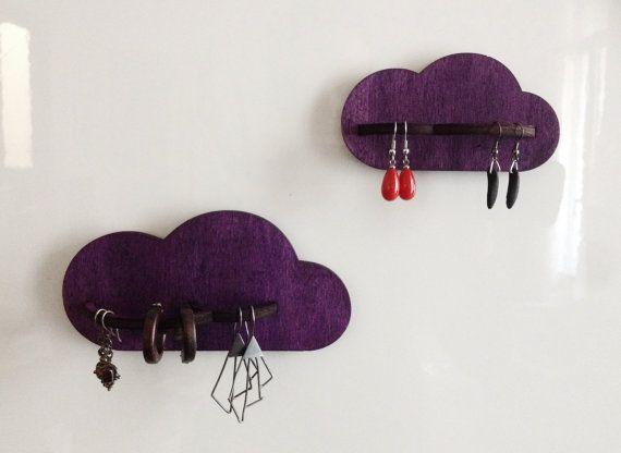 2 Wall jewelry holder  Cloud jewelry display  jewelry by miloomila