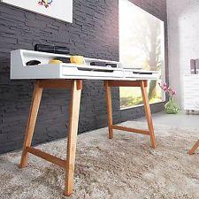 Schreibtisch Sekretär TIFFY 110cm Weiß Eiche Holz Tisch Bürotisch Tische