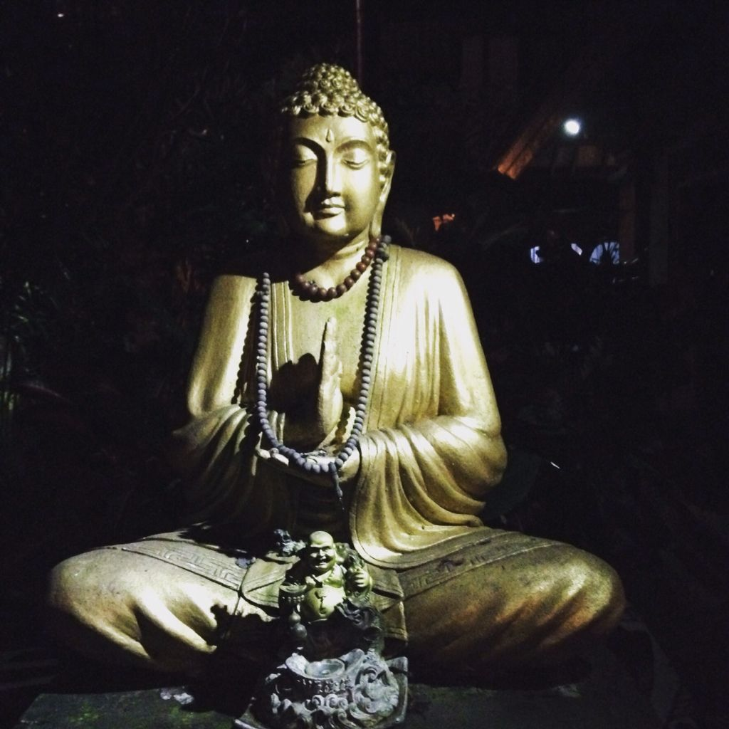 An amazing Golden Buddha in Ubud, Bali. Bali is a lovely mixture of Buddhism and Hinduism intertwined.