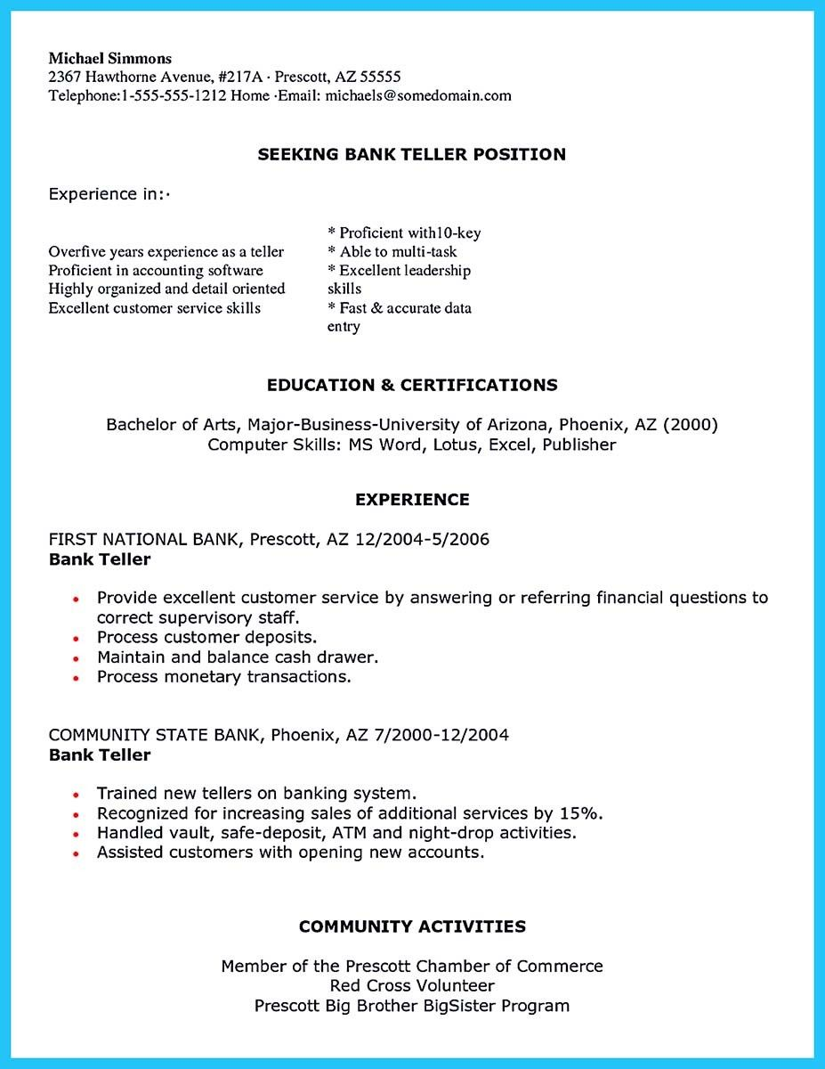 One of Banking Resume Examples to Learn Bank