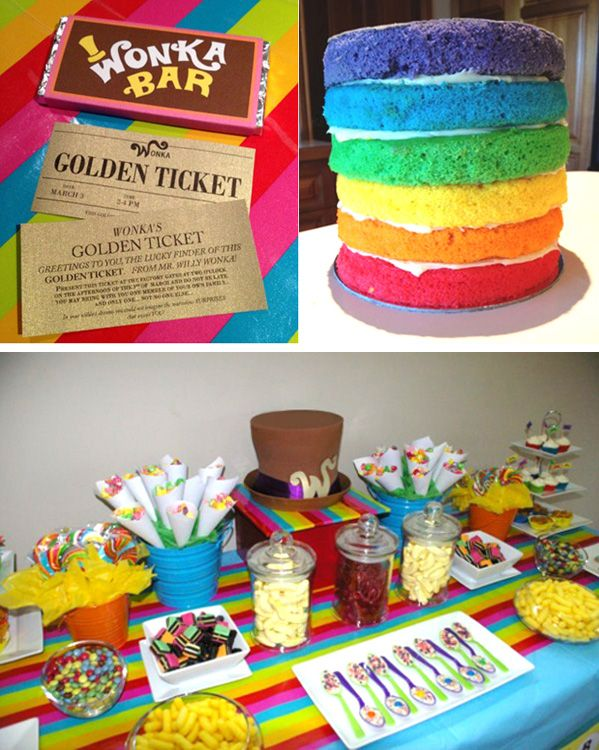 Willy Wonka themed party Golden ticket invitations in chocolate