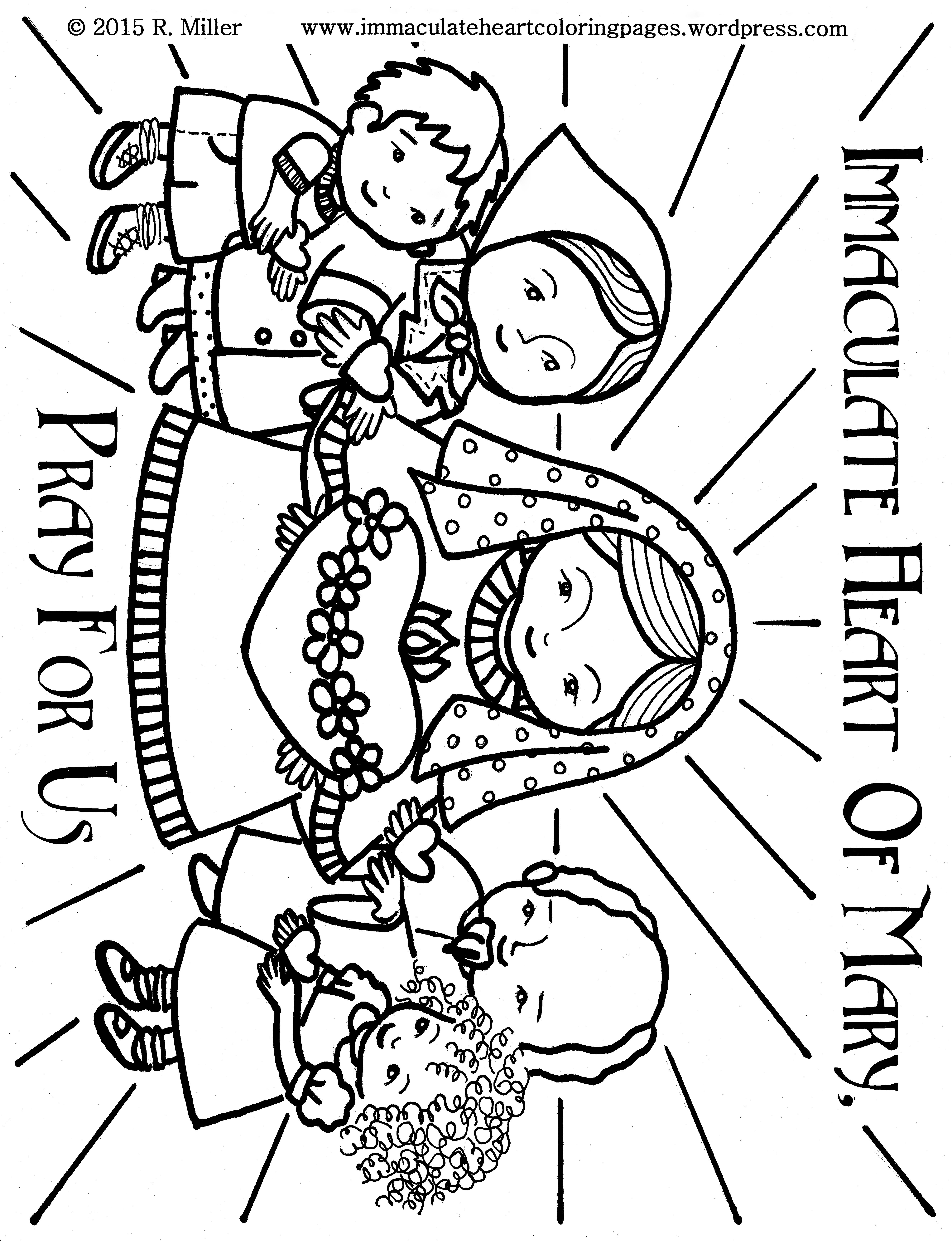 Immaculate Heart Of Mary Pray For Us Coloring Page Free To