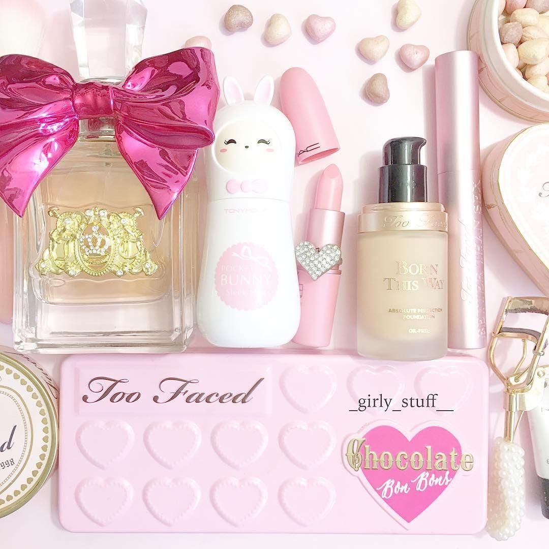 Pastel Pink Cosmetics Including A Super Cute Tony Moly Bunny Mist