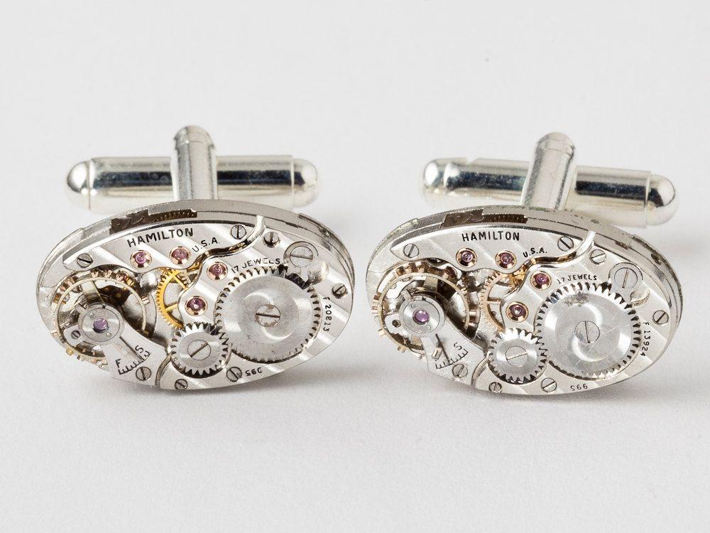 Steampunk cufflinks pinstripe Hamilton watch movement wedding anniversary silver cuff links men jewelry  #SteampunkCufflinks #SteampunkJewelry #SteampunkJewelrybyMariaSparks
