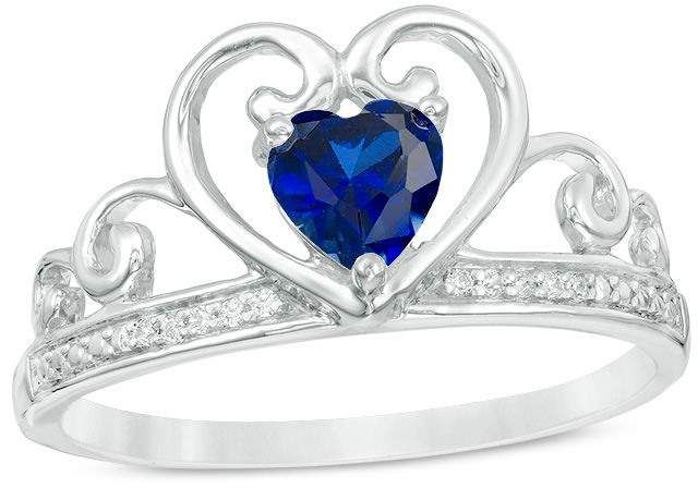 Zales 5.0mm Cushion-Cut Lab-Created Blue Sapphire and Diamond Accent Ring in Sterling Silver and 10K Rose Gold