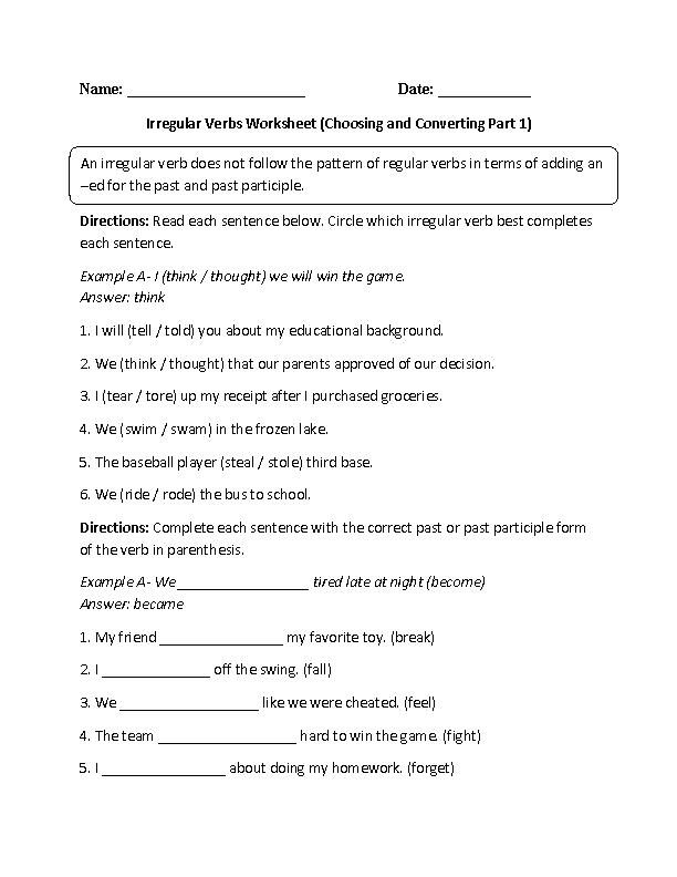 Circling and Conjugating Irregular Verbs Worksheet | ESL | Verb ...