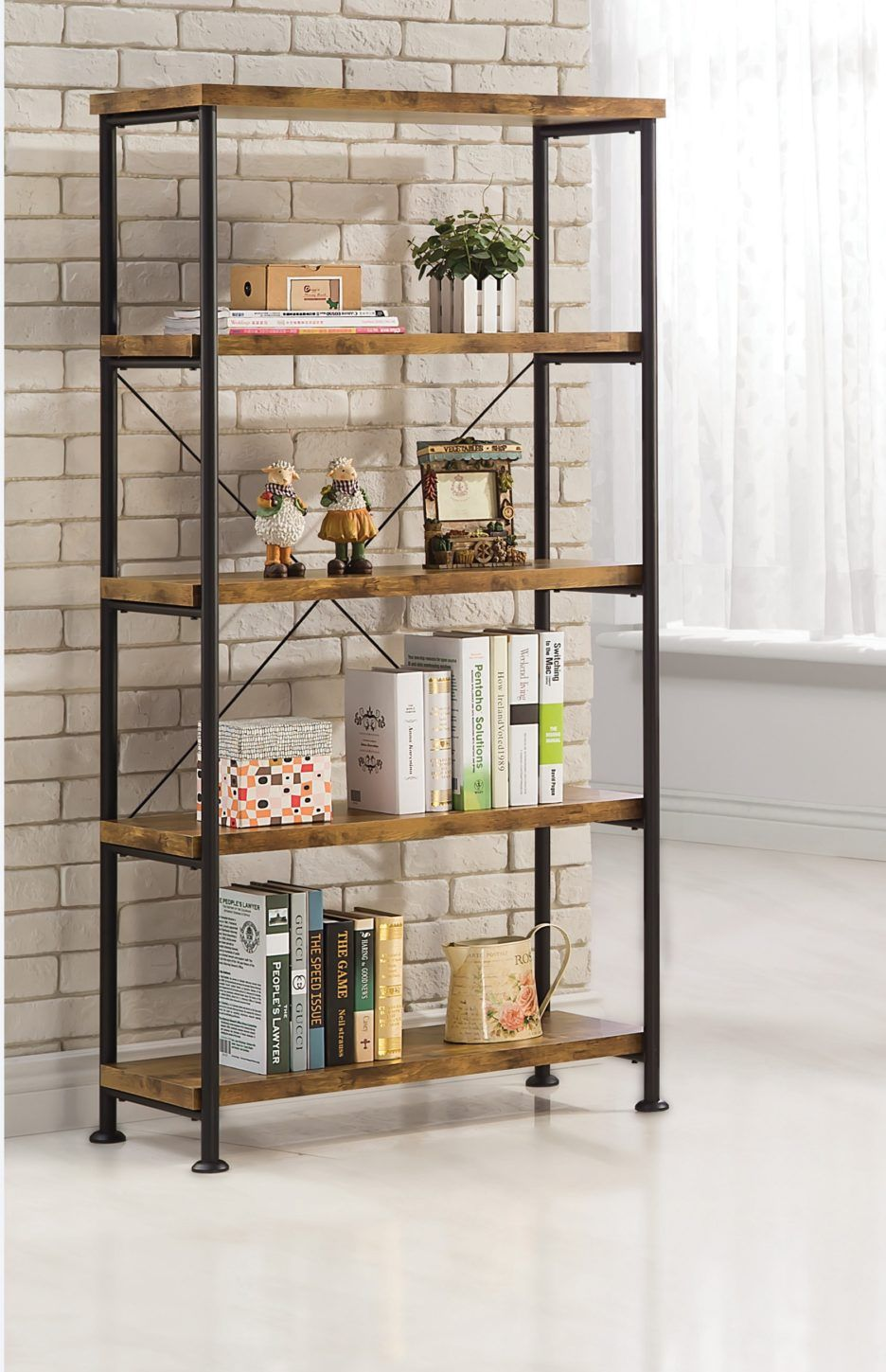 Lacquered Hickory Wood Bookshelves With Modern Black Iron Frame