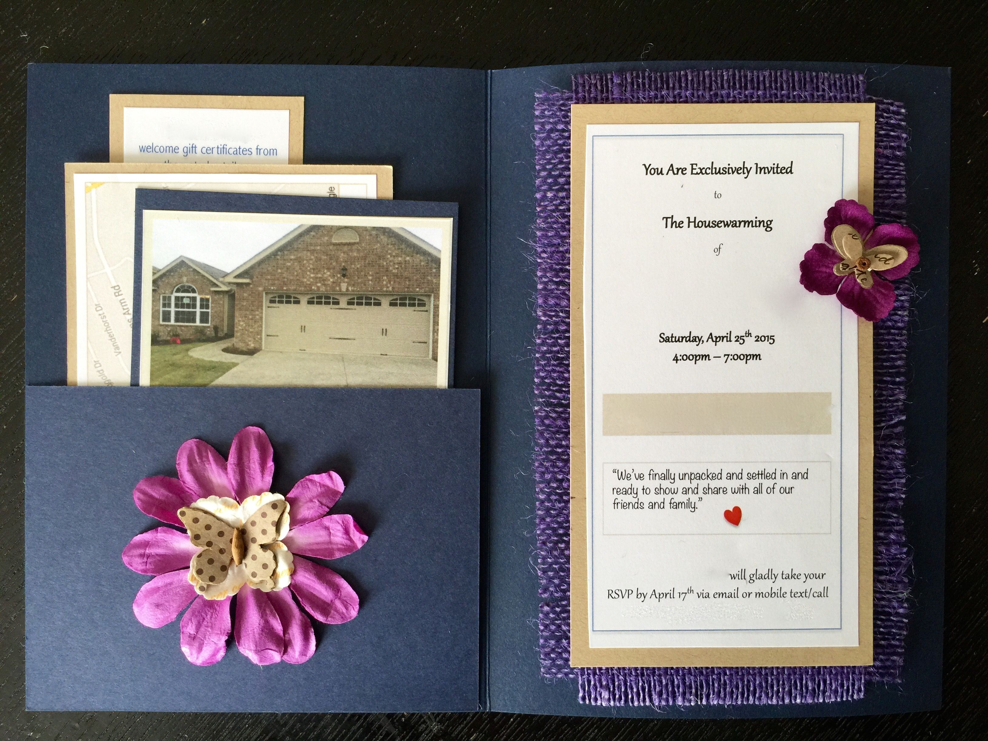 blue and purple housewarming invitation with three inserts