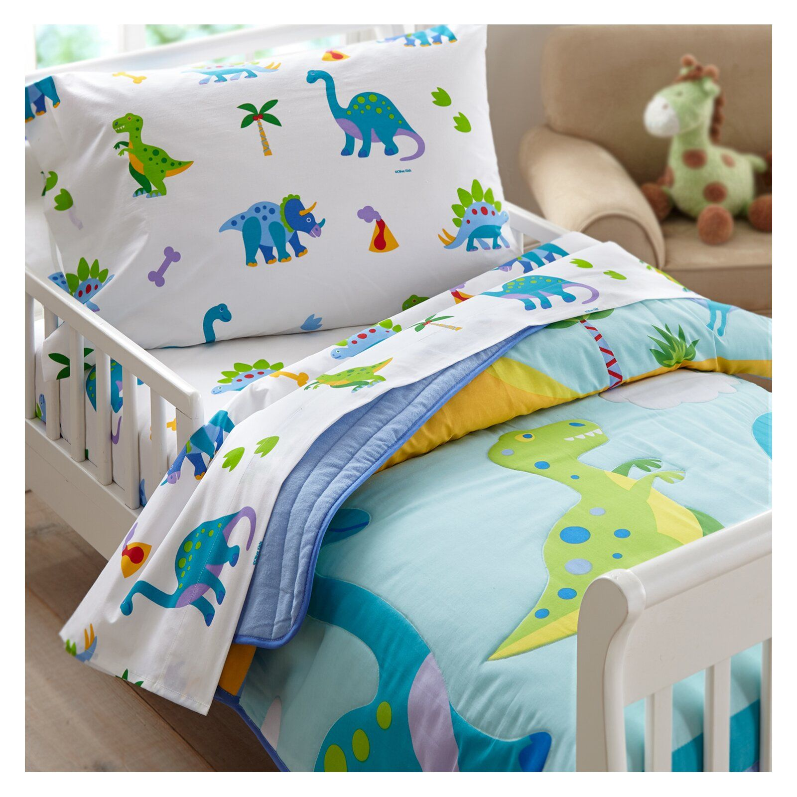 Olive Kids Dinosaur Land Toddler Comforter In 2020 Toddler Bed Set Toddler Bed Boy Dinosaur Toddler Bedding