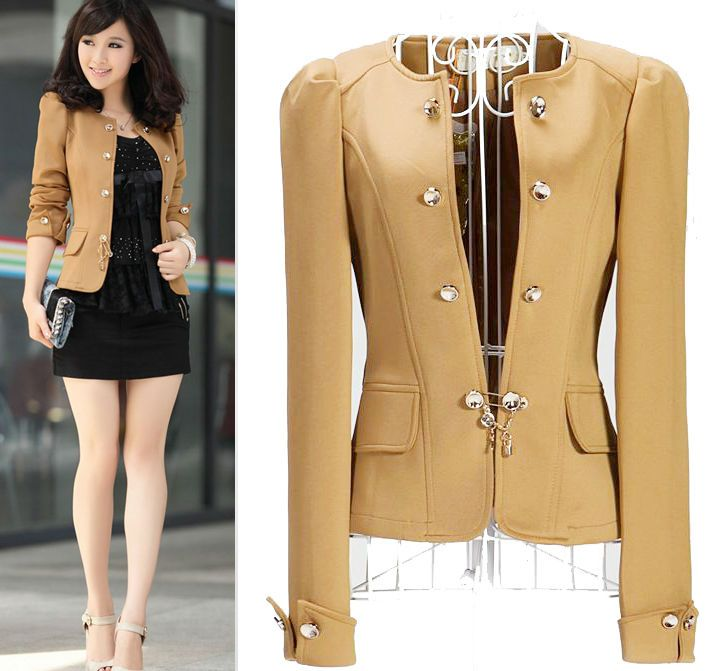 Hot Camel Women Ladies Slim Short Outwear Puff Shoulder Blazer ...