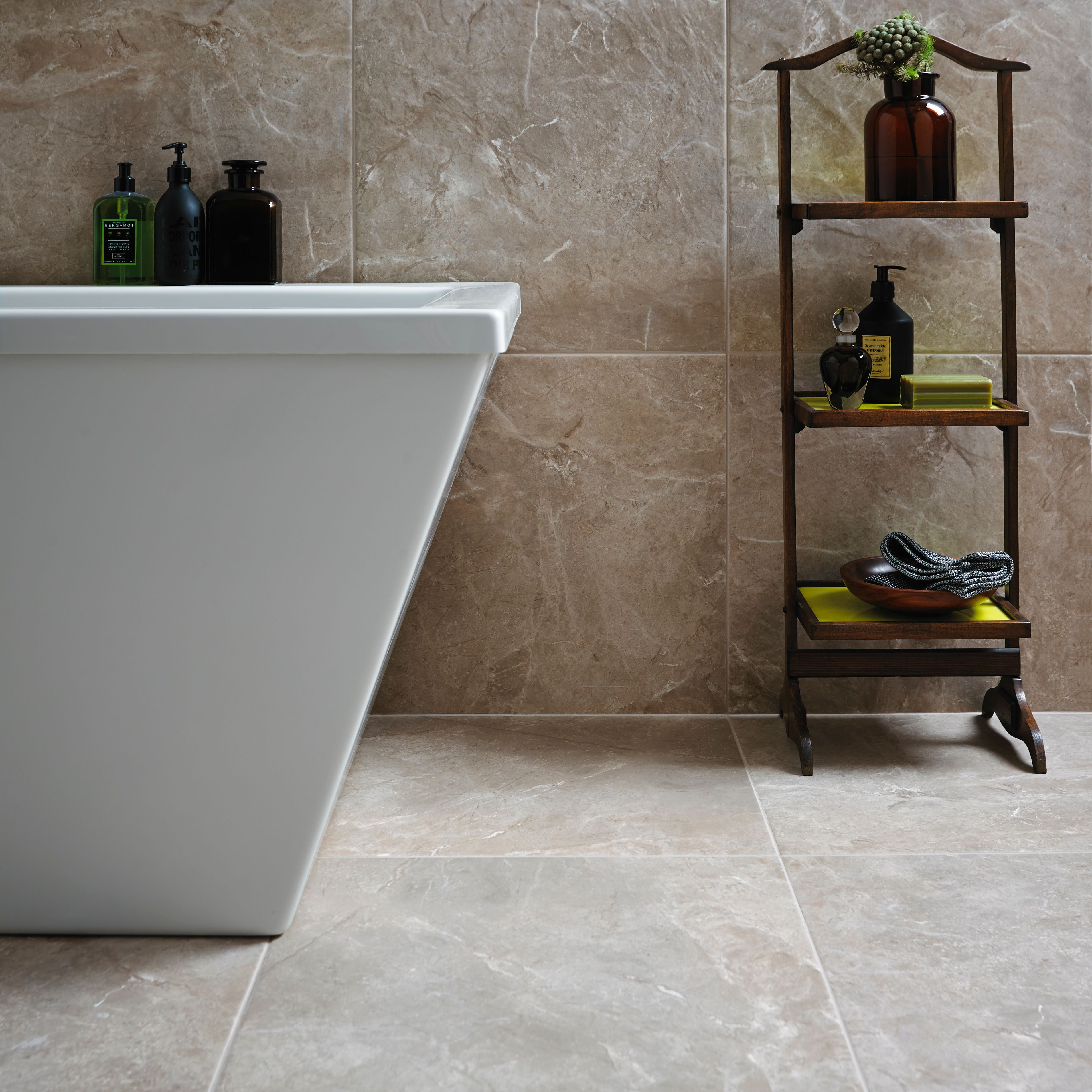 Burlington Limestone Earth Riven Stone Effect Ceramic Wall Floor Tile Pack Of 4 L 498mm W 498mm Departments Diy At B Q Tile Floor Flooring Tiles