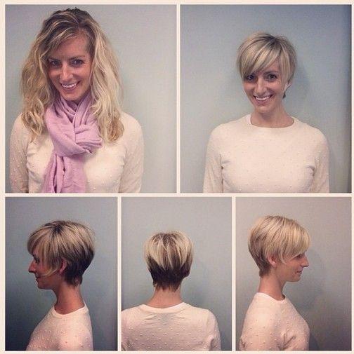Hubschen Vorher Nachher Frisuren Von Lang Auf Kurz Frisuren Haarschnitt Kurze Pixie Frisuren
