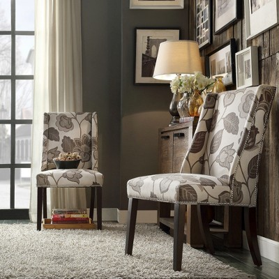 Exceptional Harlow Wingback Floral Dining Chair With Nailheads Wood/Gray (Set Of 2)