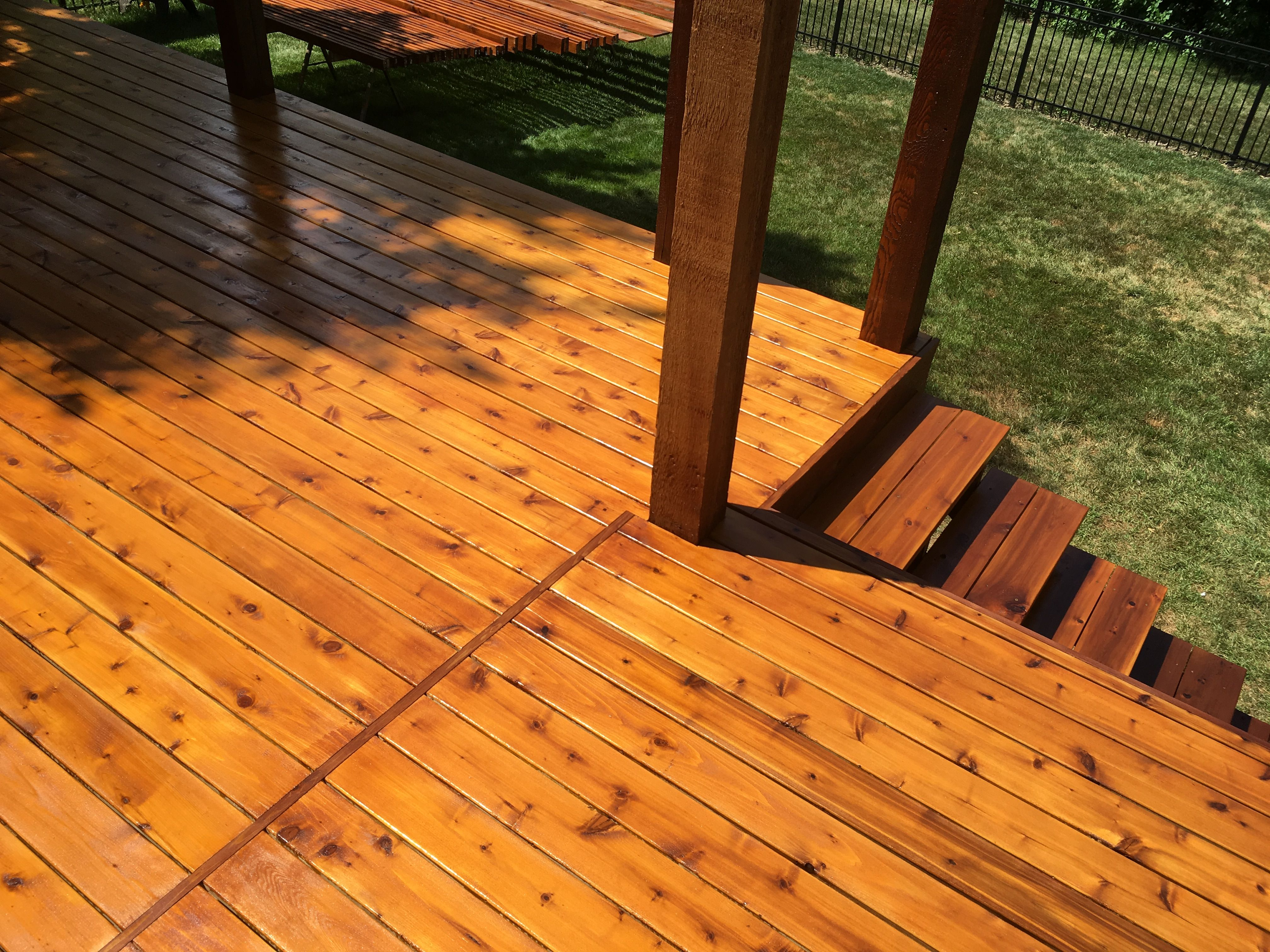 Two Tone Cedar Deck Cabot Stain Australian Oil The Posts And Railing Are Getting Two Coats Of Sunlit Walnut The Floor B Staining Deck Walnut Stain Oak Stain