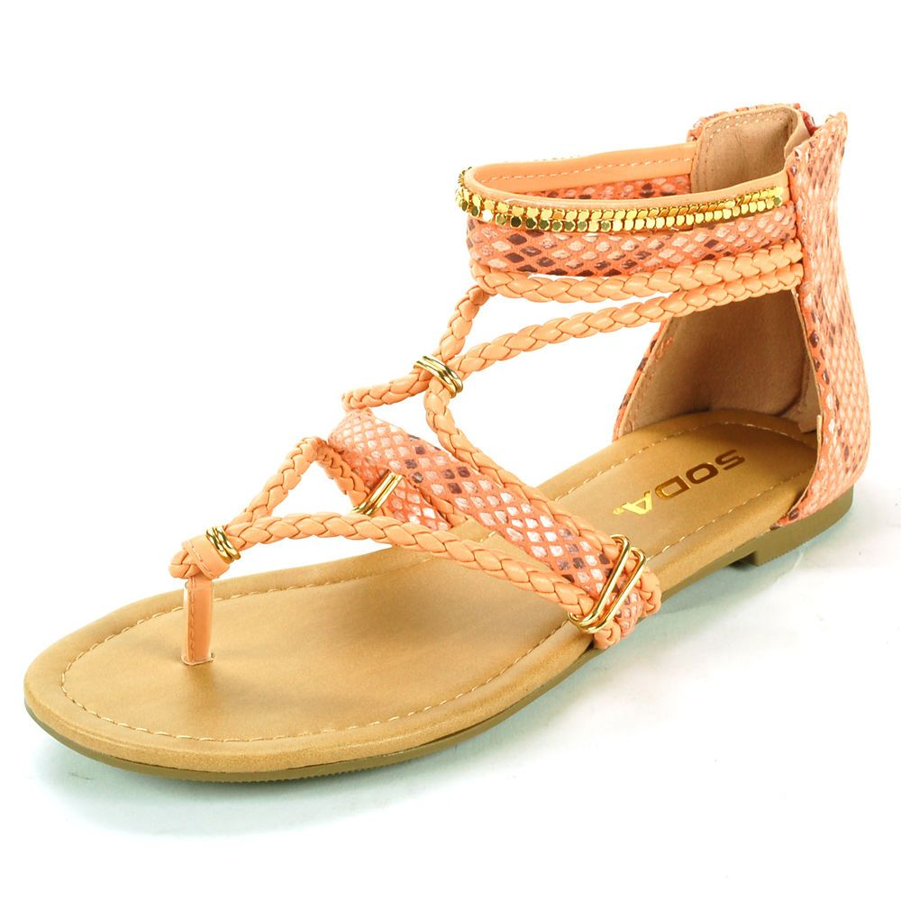 c19b15700  23.99 free shipping MSRP   49.50 .Womens Dressy Flats Snakeskin Sandals  Bling Ankle Strap Shoes Heel Zipper Thongs  Soda  Sandals