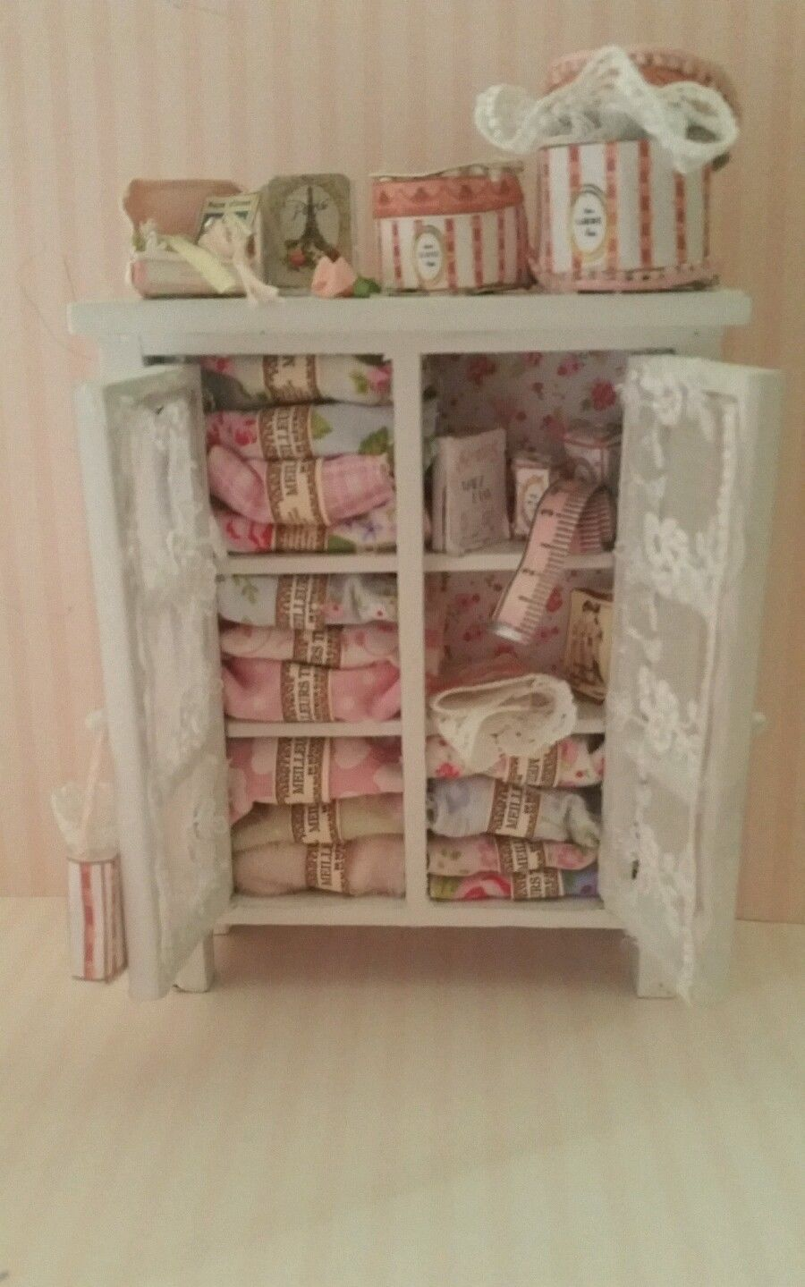 ooak 1:12 scale dollhouse miniature shabby chic sewing room
