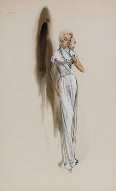 Helen Rose Costume Sketch For Anne Francis In Forbidden Planet Mgm 1956 Original Costume