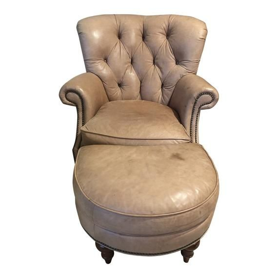 Leather Tufted Wingback Chair Ottoman By Century Furniture Etsy In 2020 Leather Chair Chair And Ottoman Set Tufted Leather Chair