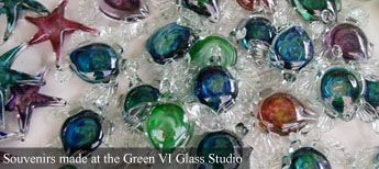 Turning trash into treasure! Glass bottles are recycled into souvenirs.
