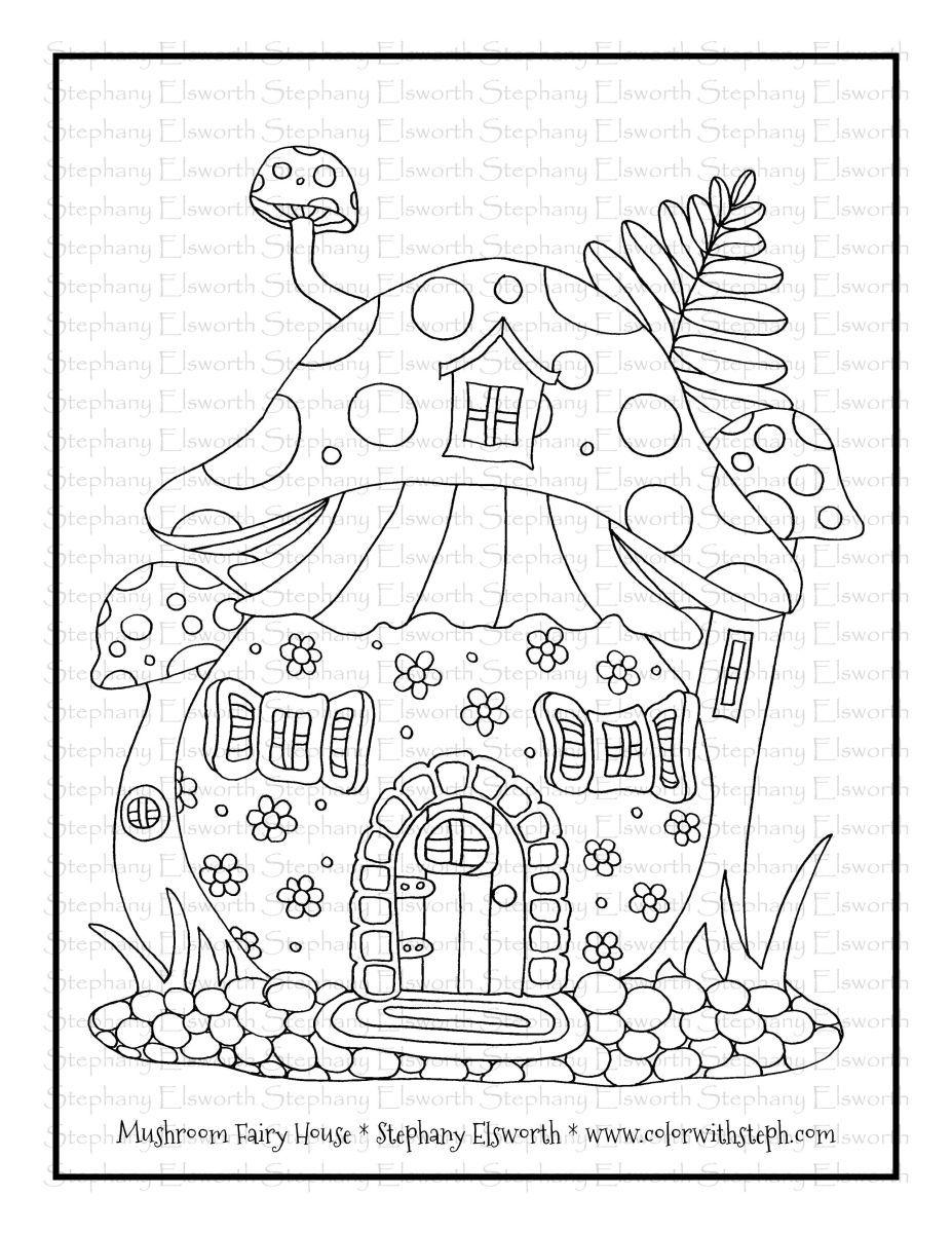 Mushroom Fairy House Free Printable Coloring Page