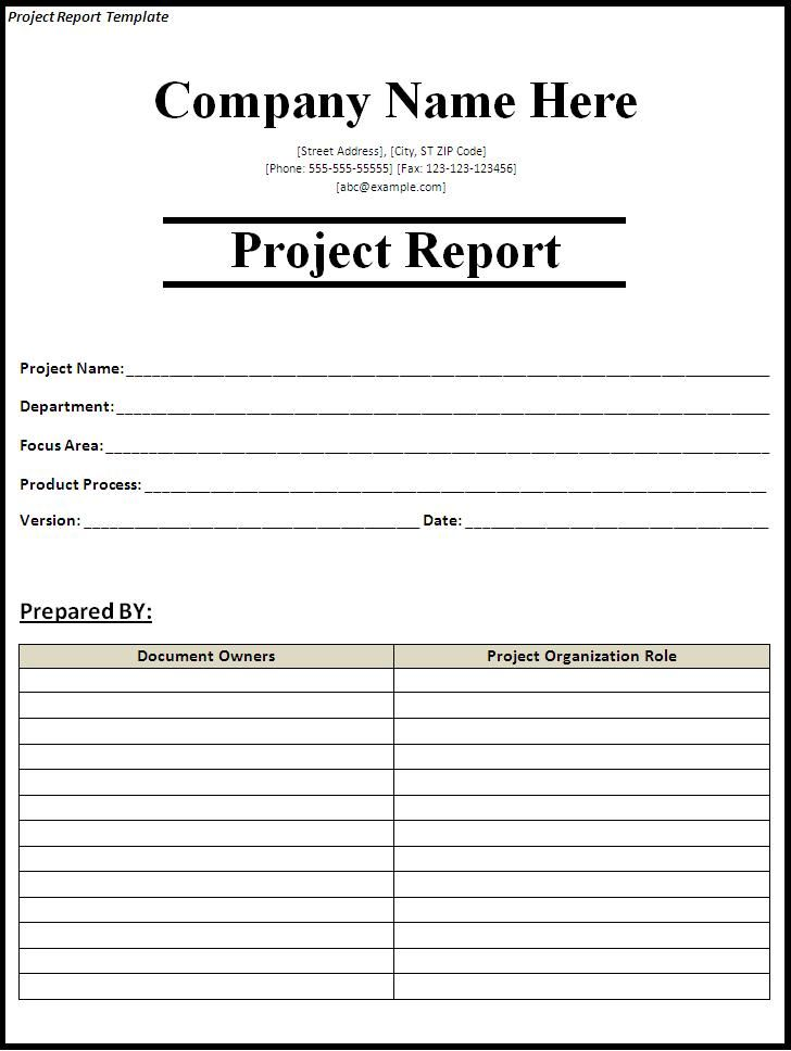 Project Status Report TemplateProject Report Template  Report