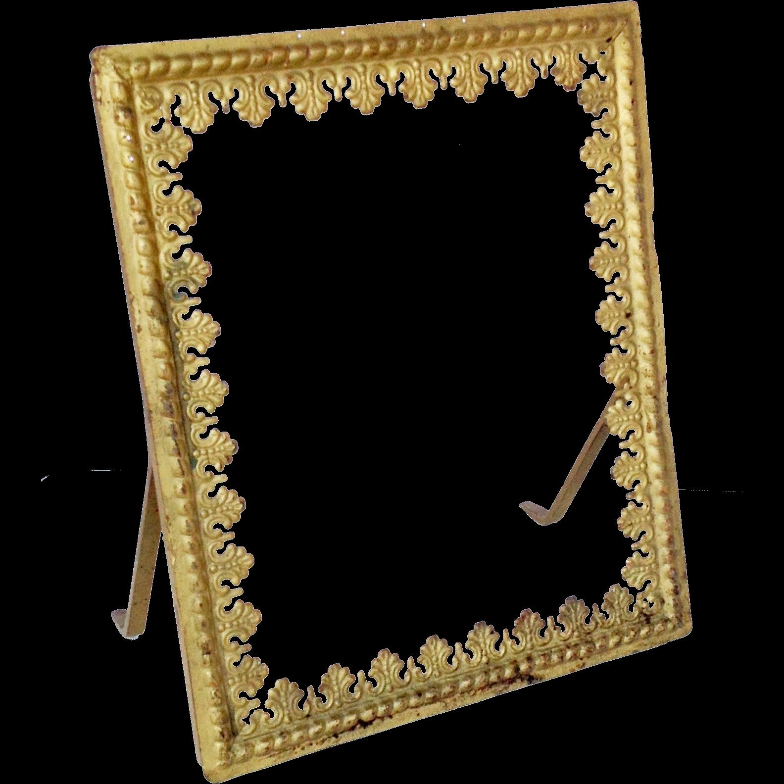 gold metal frame mirror frame picture frame vintage with easel back - Easel Backs For Picture Frames