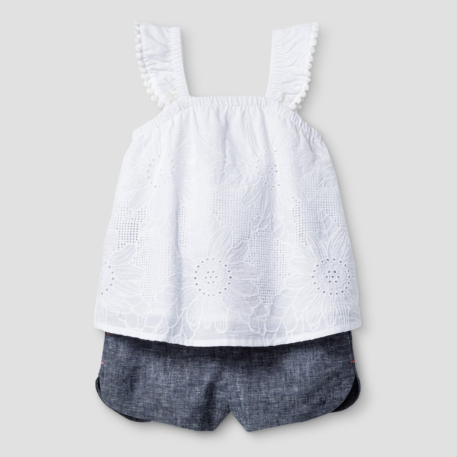8a9e15dd7 Baby Girl's white top and denim shorts from Cat Jack | baby girl ...