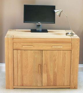 hidden home office furniture. Baumhaus Atlas Oak Hidden Home Office Desk Hidden Home Office Furniture