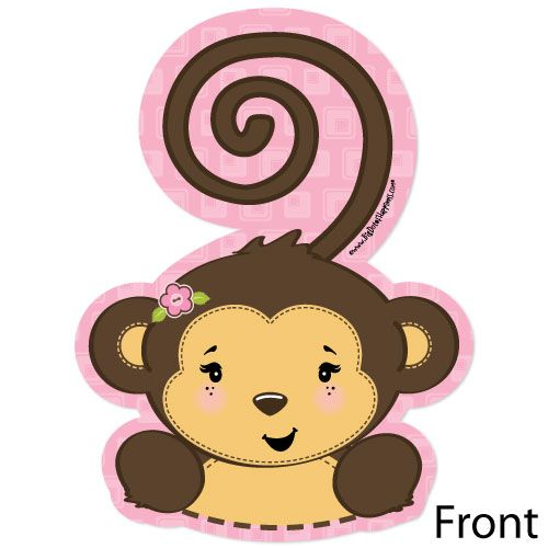 Monkey Girl   Shaped Baby Shower Invitations