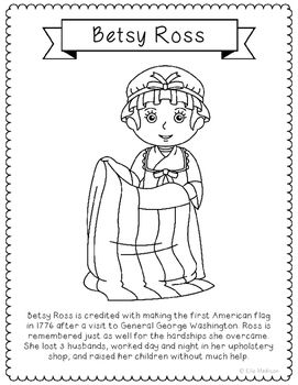 Betsy Ross Coloring Page Craft With Biography American Flag Usa