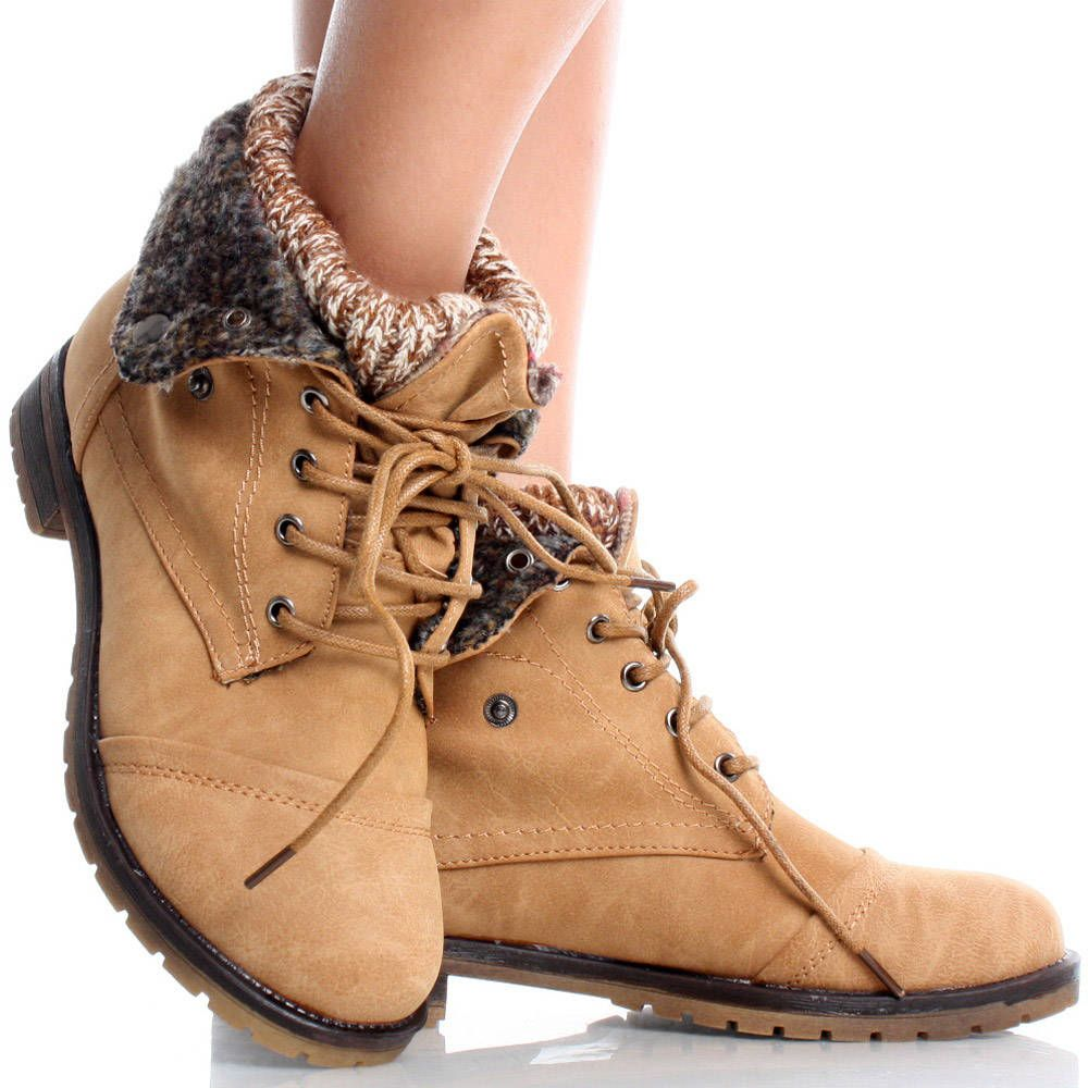 Tan Knit Fold Cuffed Lace Up Combat Women Booties Flat Ankle Boots ...