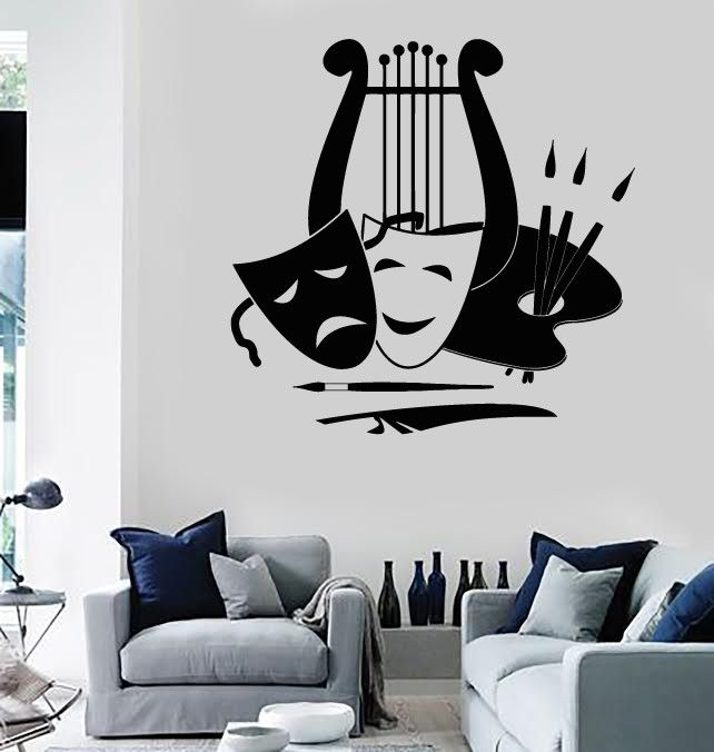 Wall Stickers Vinyl Decal Theatre Arts Music Painting Great Decor Unique Gift Ig1836 Theatre Decorations Theater Room Decor Music Wall Decal
