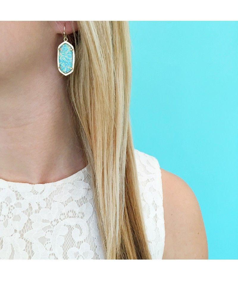 Dani Earrings in Aqua Kyocera Opal - Kendra Scott Jewelry
