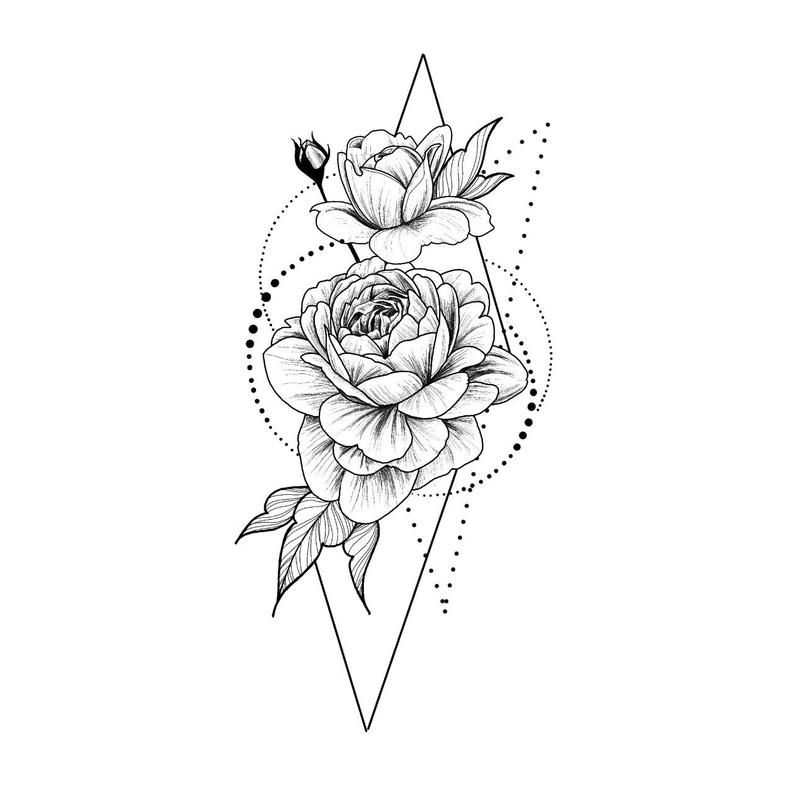 Photo of Roses in geometry Temporary Tattoo / Dots lines flash tattoo / Drawing flower Rosebud / Female Thigh tattoo Festival accessory Gift for Her