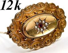 Antique Victorian 12k Gold Seed Pearl Mourning Brooch, Locket - Garnet or Ruby and star,a beauty!