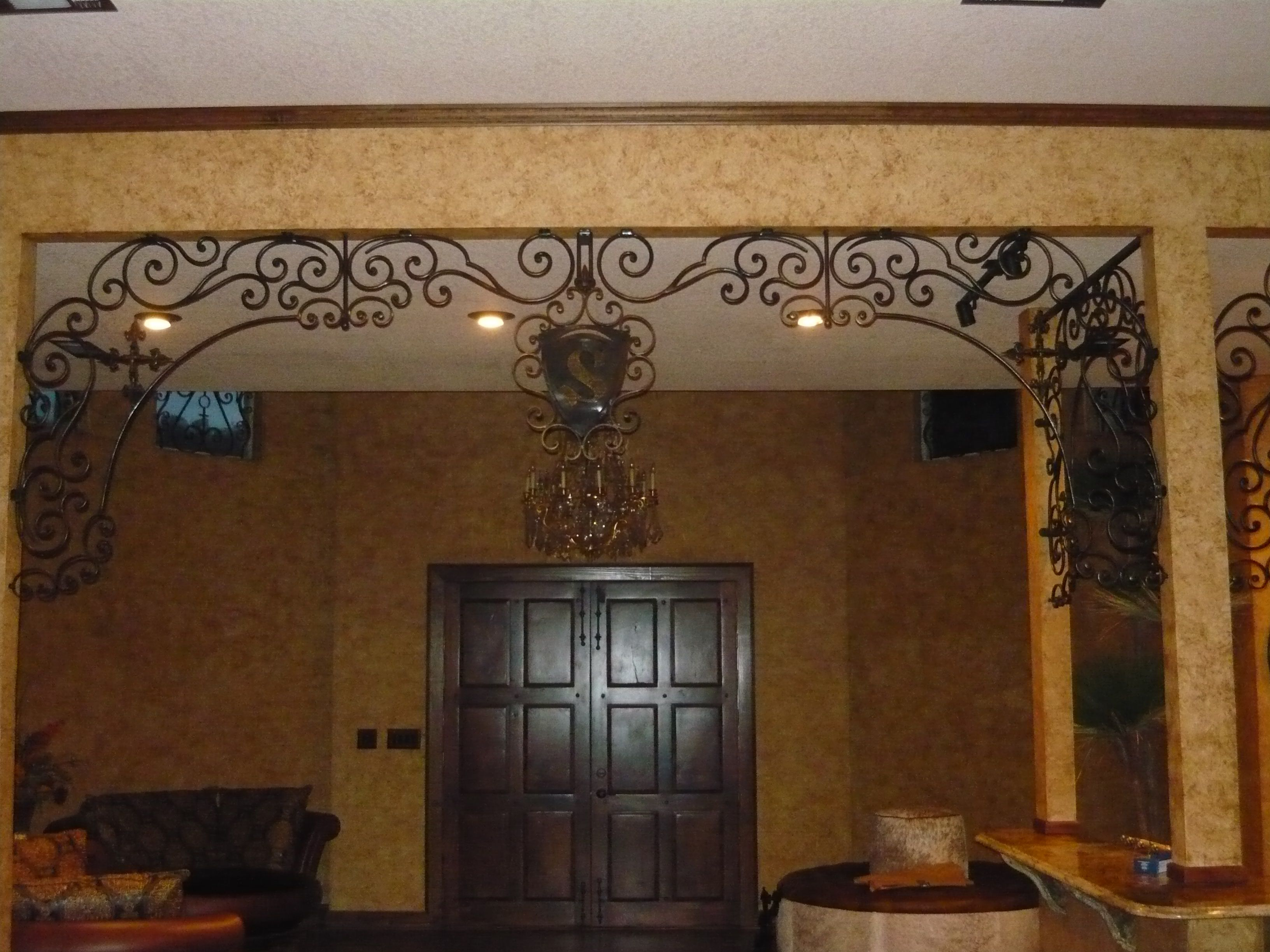 custom scroll work with crosses old world tuscan