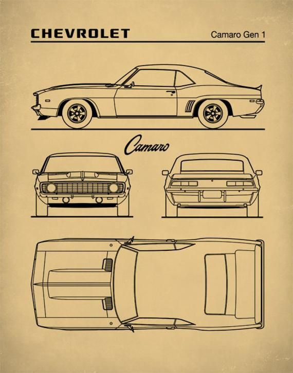 The Chevrolet Camaro is a mid-size American automobile manufactured by Chevrolet, classified as a pony car[4][5] and some versions also as a muscle car. It went on sale on September 29, 1966, for the 1967 model year and was designed as a competing model to the Ford Mustang. The original patent has been cleaned up and enhanced to create an attractive display piece for your home or office. This is a great way to put your interests and hobbies on display.This patent poster is printed using quality