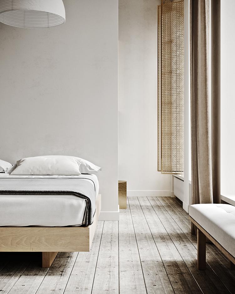 Cozy minimalistic bedroom in warm neutral hues ... on Neutral Minimalist Bedroom Ideas  id=40451