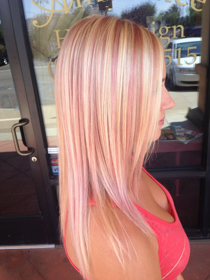 blonde with pink highlights | hair styles | pink blonde hair