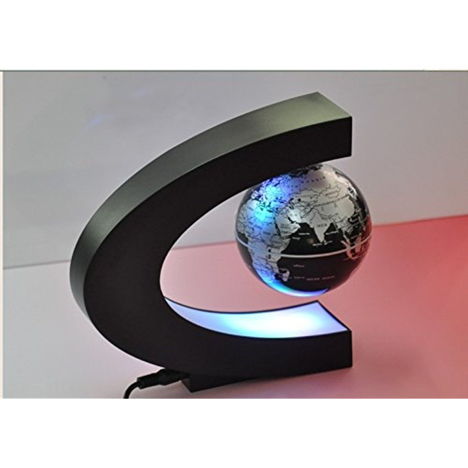 C shape magnetic levitation levitating floating world map globe with c shape magnetic levitation levitating floating world map globe with led lights for desktop decoration gumiabroncs Images