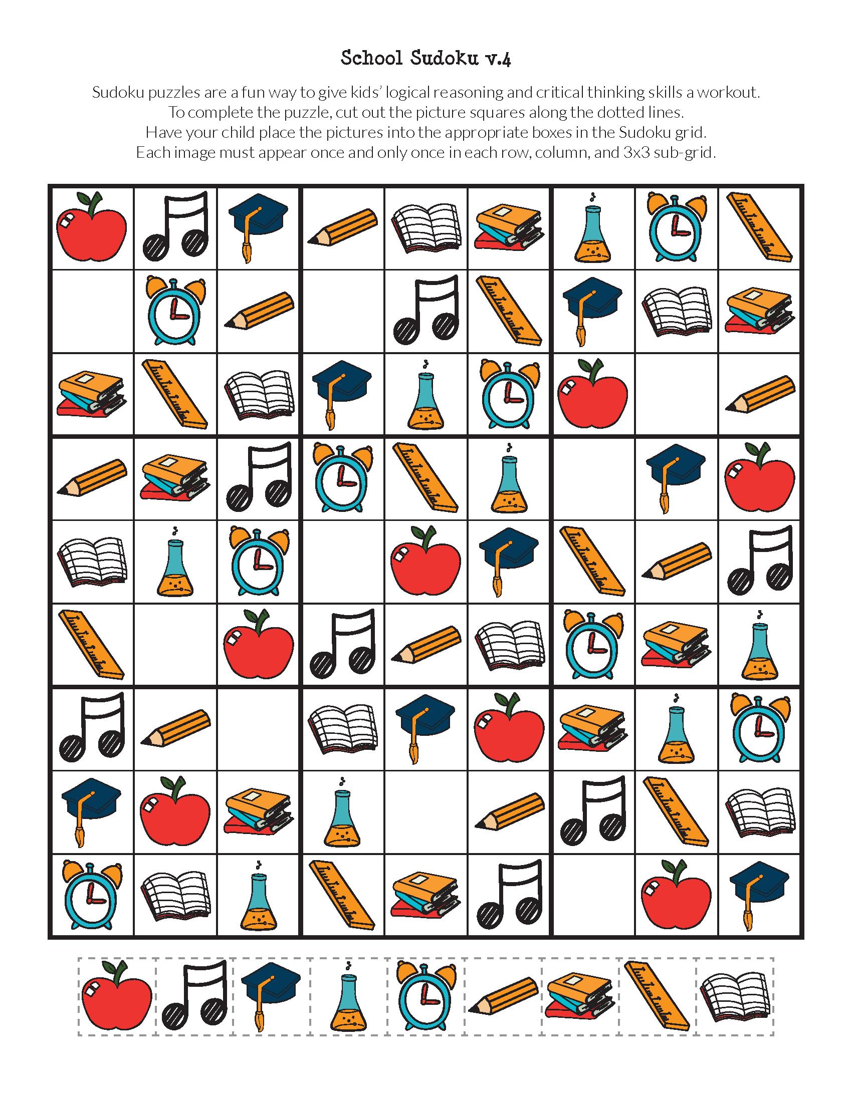 School Sudoku Puzzles {free printables   Pinterest   Kindergarten ...