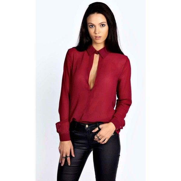 Boohoo Night Rosella Collared Deep Plunge Long Sleeve Blouse ($30) ❤ liked on Polyvore featuring tops, blouses, berry, red lace blouse, long sleeve bodysuit, long sleeve crop top, red bodysuit and long sleeve lace bodysuit