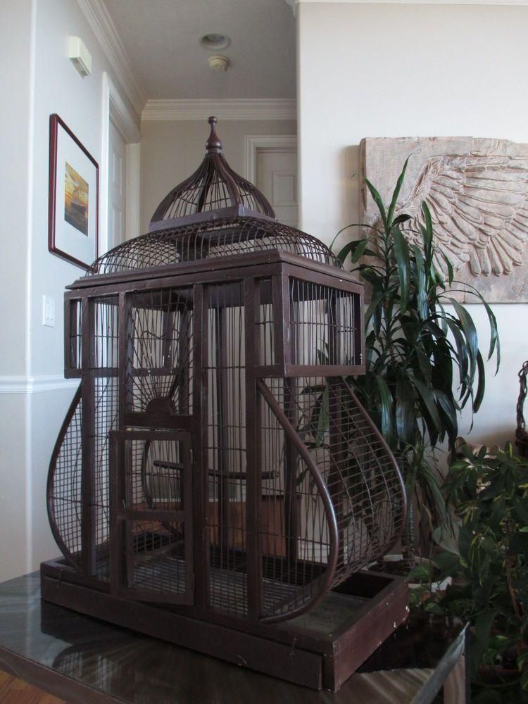 Vtg Architechtural Wood Carved Victorian Dome Top Antique Wooden Bird Cage #Vintage