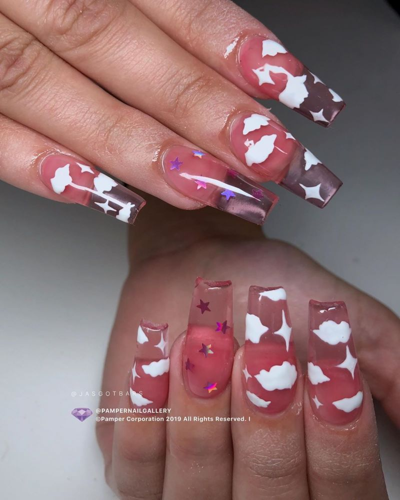 34 Pretty Cloud Nail Art Designs You Must Try Cute Acrylic Nail Designs Short Acrylic Nails Designs Nail Art Designs