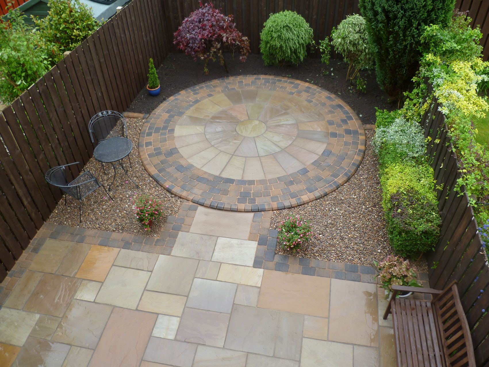 small patio Natural stone paving to Garden Back Patio