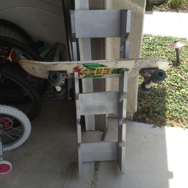 Skateboard Rack Made From Reclaimed Wood Www Facebook Com Remadeinnorfolk Skateboard Racks Diy Skateboard Rack Skateboard Storage