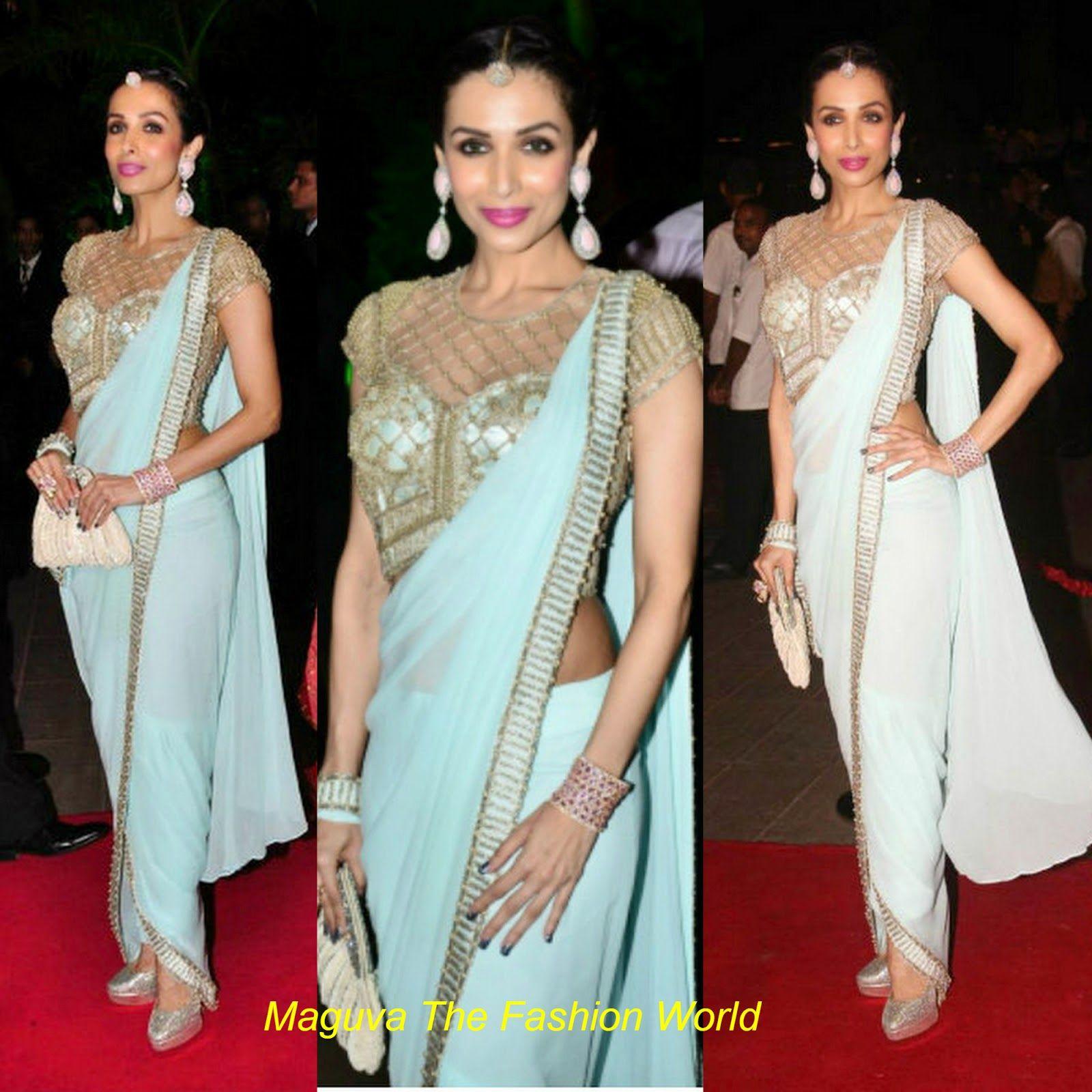Actress Malaika Arora Khan designer Sonaakshi Raaj Saree gown with ...