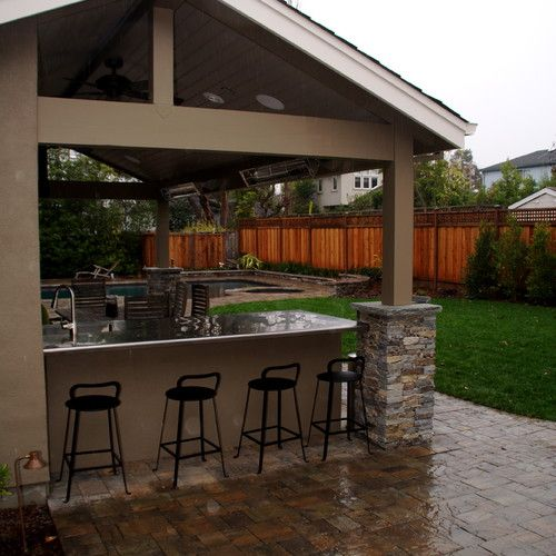 BBQ Counter, Pool House And Paver Patio